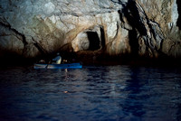 One of the other rowboats inside the Blue Grotto cave with us Notice the blue light coming from under the rowboat? I thought that was really cool.