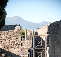 A view of the ruins with Vesuvius in the background.