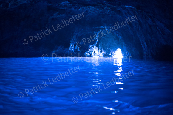 Inside the Blue Grotto without a flash - 1st picture The picture is slightly out of focus because the Nikon was having trouble focusing in the pitch black cave. It really is an amazing sight and Adobe